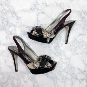Guess Snakeskin Buckle Peep Toe Shoes Size 7